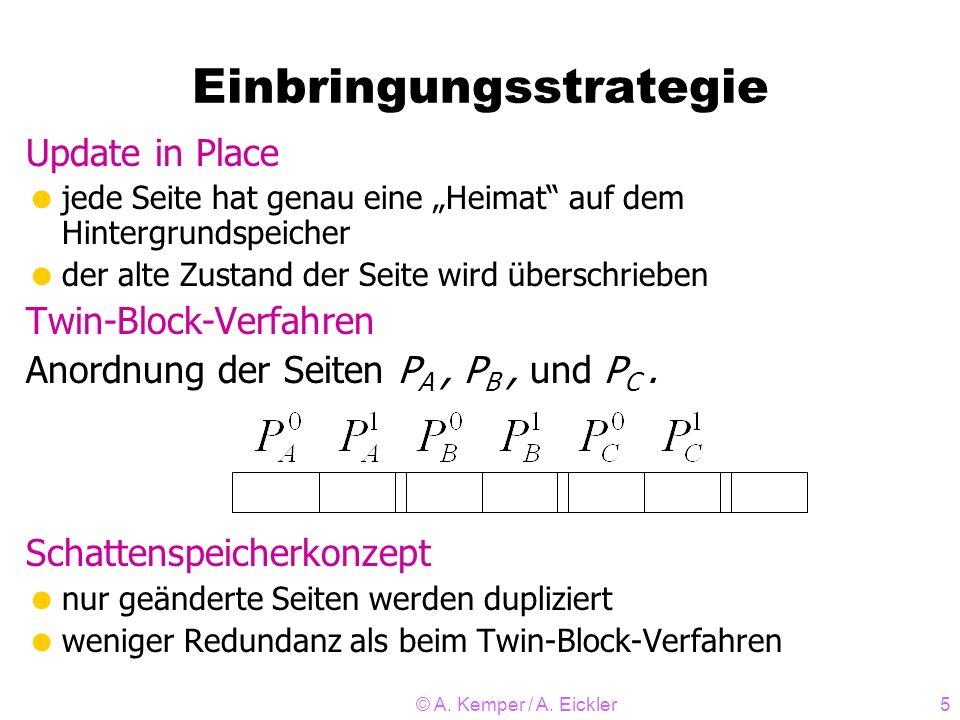 © A. Kemper / A. Eickler5 Einbringungsstrategie Update in Place jede Seite hat genau eine Heimat auf dem Hintergrundspeicher der alte Zustand der Seit