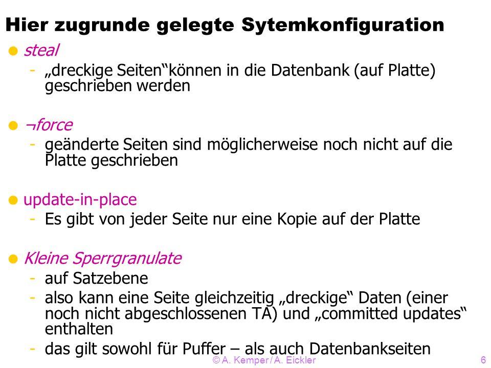 © A. Kemper / A. Eickler6 Hier zugrunde gelegte Sytemkonfiguration steal -dreckige Seitenkönnen in die Datenbank (auf Platte) geschrieben werden ¬forc