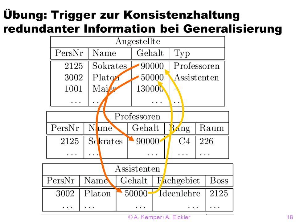 © A. Kemper / A. Eickler18 Übung: Trigger zur Konsistenzhaltung redundanter Information bei Generalisierung