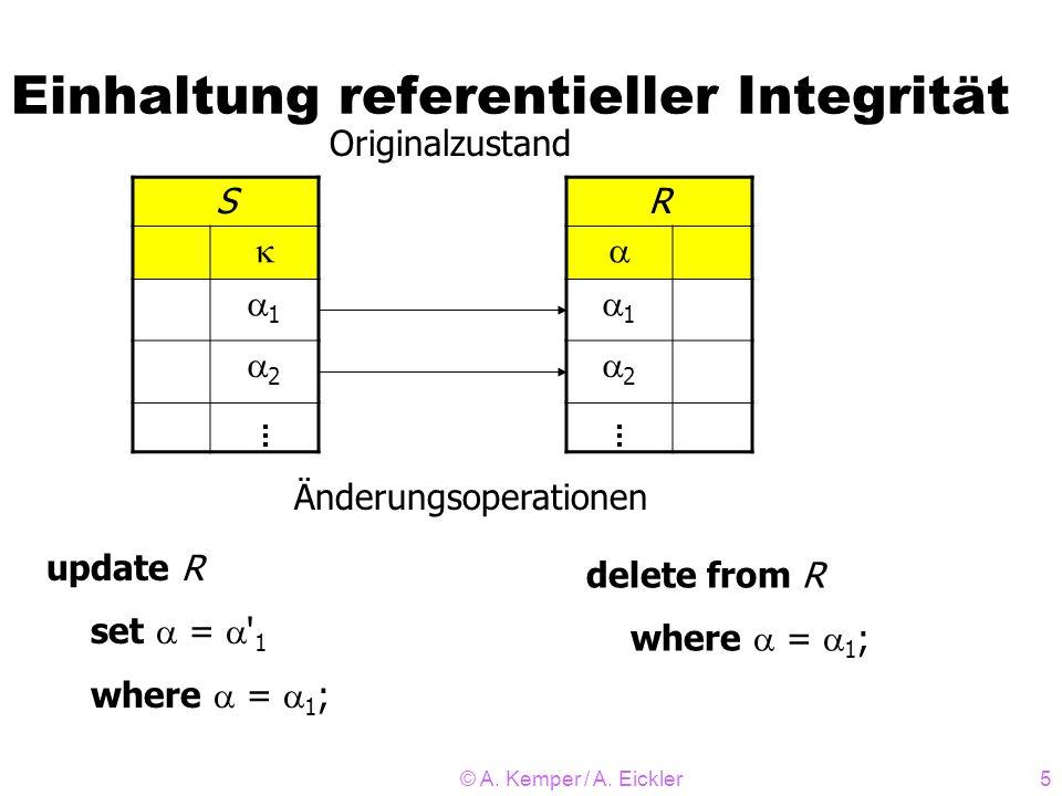 © A. Kemper / A. Eickler5 Einhaltung referentieller Integrität S 1 2 R 1 2 Originalzustand Änderungsoperationen update R set = ' 1 where = 1 ; delete