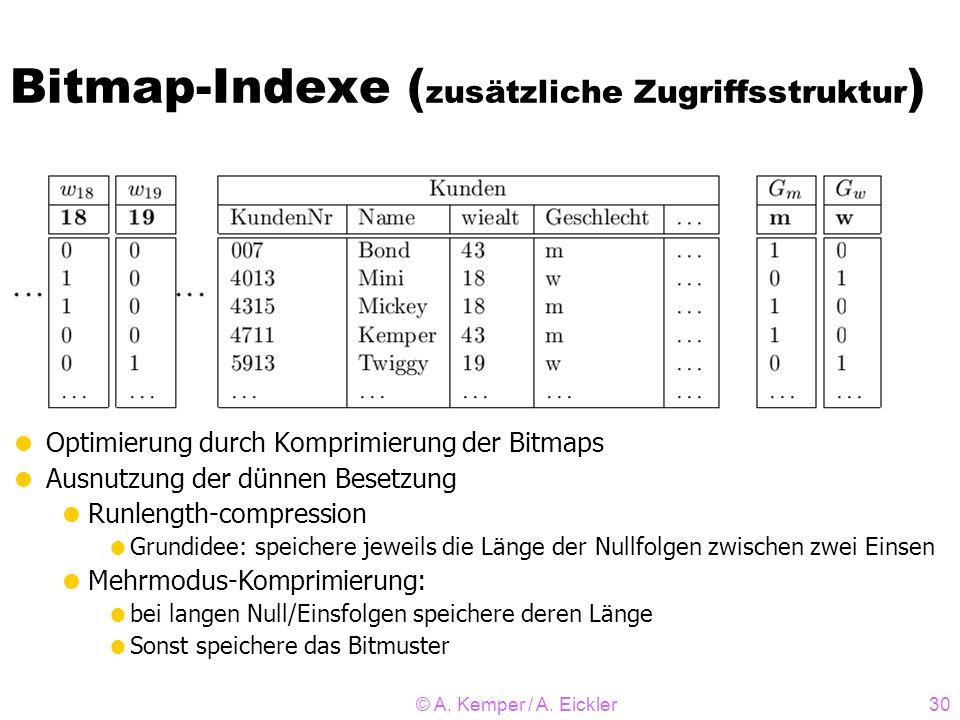 © A. Kemper / A. Eickler30 Bitmap-Indexe ( zusätzliche Zugriffsstruktur ) Optimierung durch Komprimierung der Bitmaps Ausnutzung der dünnen Besetzung