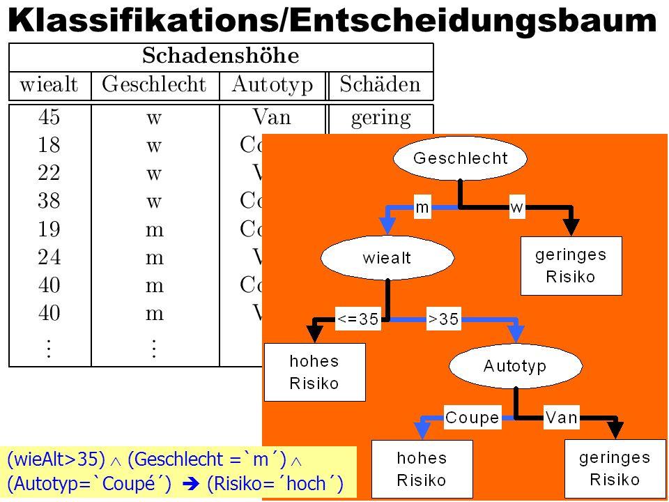 © A. Kemper / A. Eickler37 Klassifikations/Entscheidungsbaum (wieAlt>35) (Geschlecht =`m´) (Autotyp=`Coupé´) (Risiko=´hoch´)