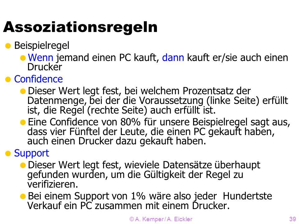 © A. Kemper / A. Eickler39 Assoziationsregeln Beispielregel Wenn jemand einen PC kauft, dann kauft er/sie auch einen Drucker Confidence Dieser Wert le