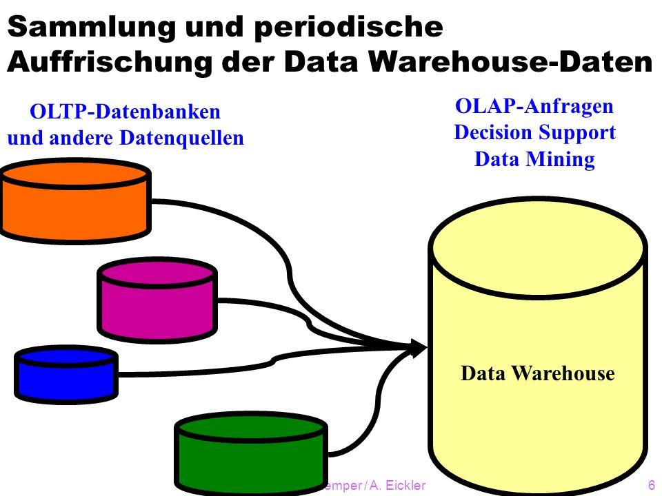 © A. Kemper / A. Eickler6 Sammlung und periodische Auffrischung der Data Warehouse-Daten Data Warehouse OLTP-Datenbanken und andere Datenquellen OLAP-