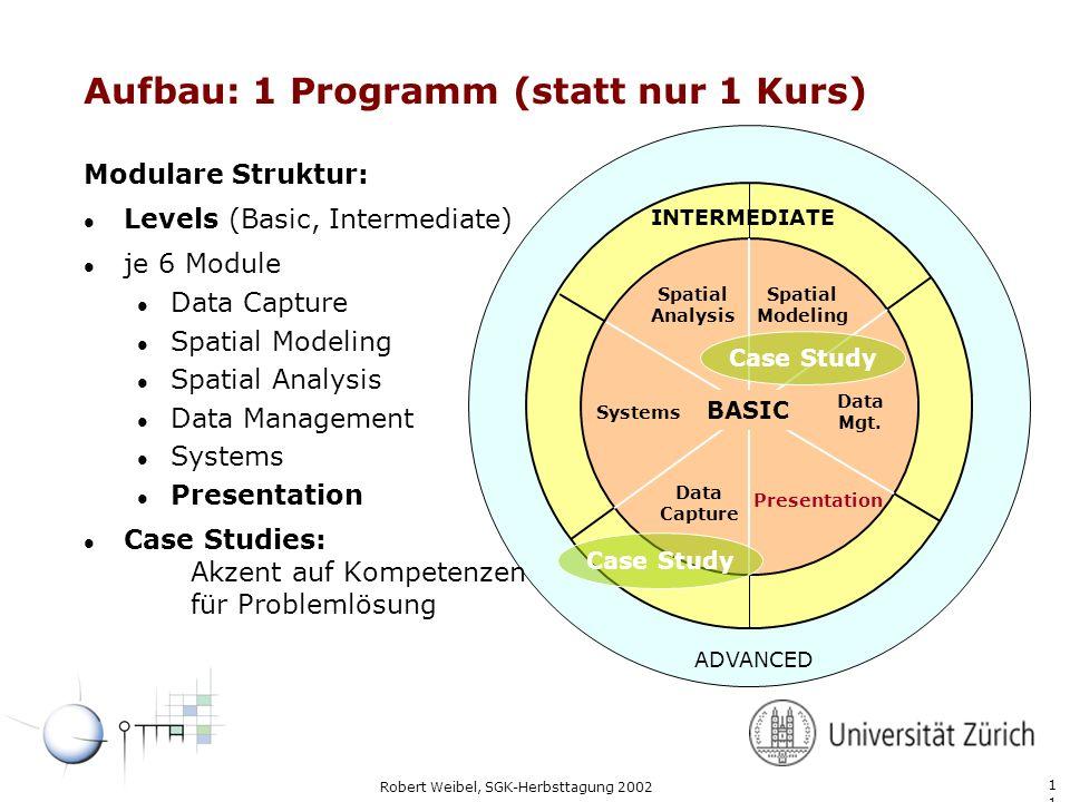 1 Robert Weibel, SGK-Herbsttagung 2002 Aufbau: 1 Programm (statt nur 1 Kurs) BASIC Spatial Analysis Spatial Modeling Data Mgt.