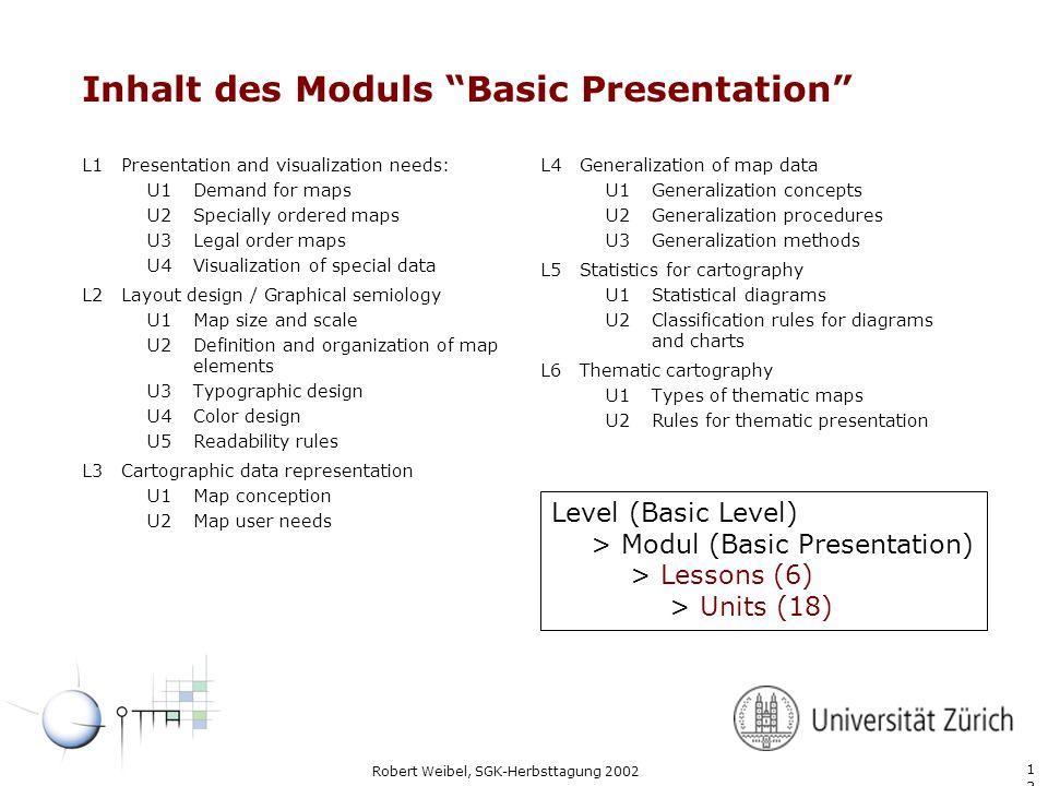 1313 Robert Weibel, SGK-Herbsttagung 2002 Inhalt des Moduls Basic Presentation L1Presentation and visualization needs: U1Demand for maps U2Specially o