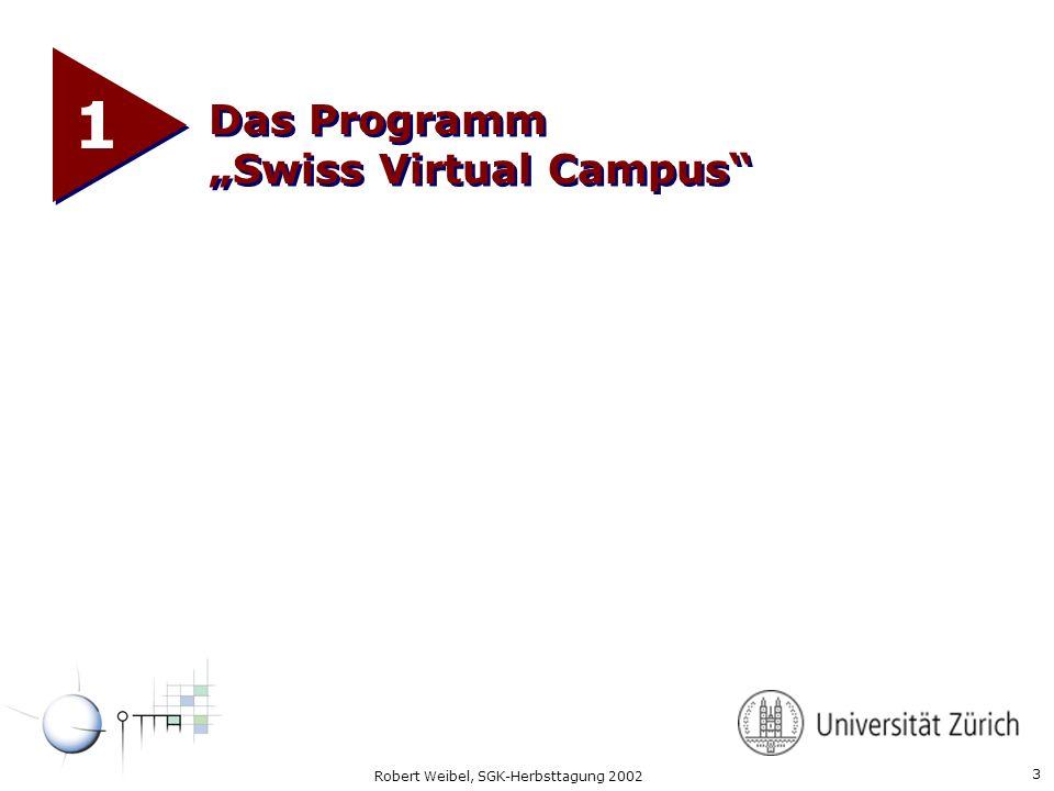 4 Robert Weibel, SGK-Herbsttagung 2002 Swiss Virtual Campus www.virtualcampus.ch l Programm des Bundes zur Förderung der Erzeugung von Inhalten der webbasierten Lehre auf Hochschulstufe.