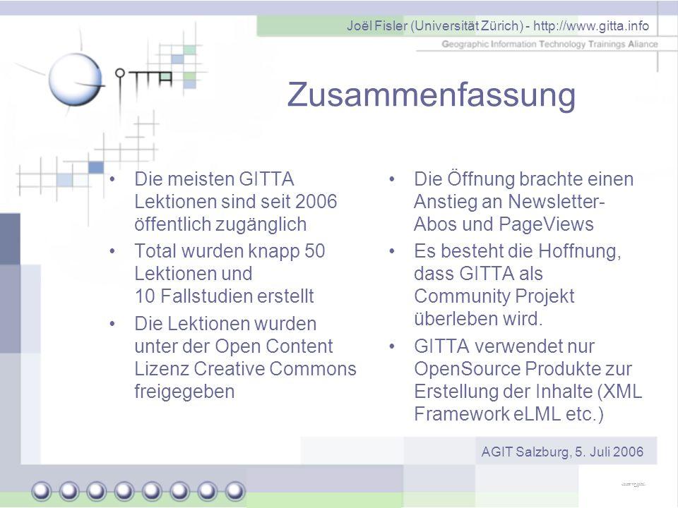 Joël Fisler (Universität Zürich) - http://www.gitta.info AGIT Salzburg, 5. Juli 2006 Zusammenfassung Die Öffnung brachte einen Anstieg an Newsletter-
