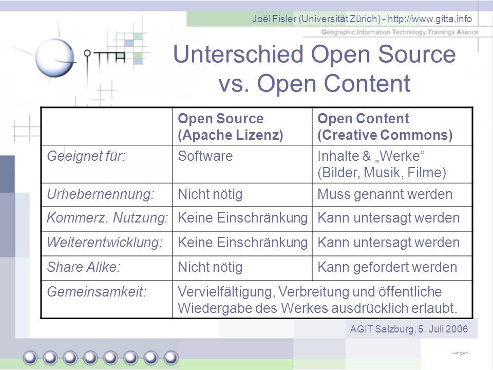 Joël Fisler (Universität Zürich) - http://www.gitta.info AGIT Salzburg, 5. Juli 2006 Unterschied Open Source vs. Open Content Open Source (Apache Lize