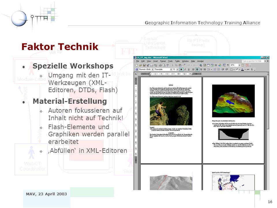 16 MAV, 23 April 2003 Geographic Information Technology Training Alliance Faktor Technik l Spezielle Workshops v Umgang mit den IT- Werkzeugen (XML- Editoren, DTDs, Flash) l Material-Erstellung v Autoren fokussieren auf Inhalt nicht auf Technik.