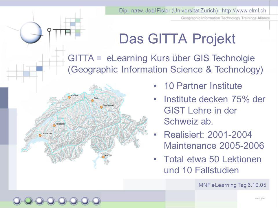 Dipl. natw. Joël Fisler (Universität Zürich) - http://www.elml.ch MNF eLearning Tag 6.10.05 Das GITTA Projekt 10 Partner Institute Institute decken 75