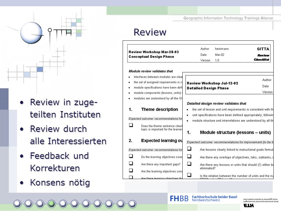 Review Review in zuge- teilten InstitutenReview in zuge- teilten Instituten Review durch alle InteressiertenReview durch alle Interessierten Feedback