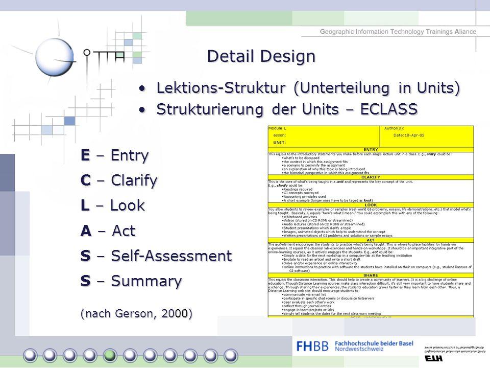 Detail Design Lektions-Struktur (Unterteilung in Units)Lektions-Struktur (Unterteilung in Units) Strukturierung der Units – ECLASSStrukturierung der U