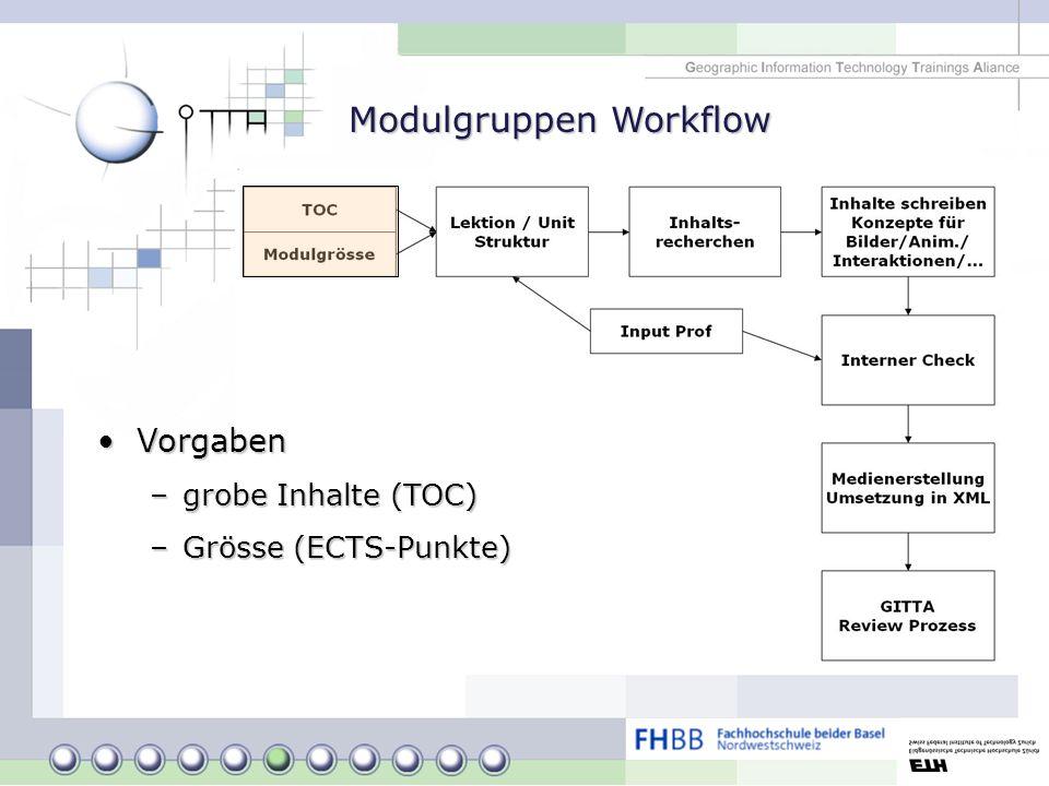 Modulgruppen Workflow VorgabenVorgaben –grobe Inhalte (TOC) –Grösse (ECTS-Punkte)