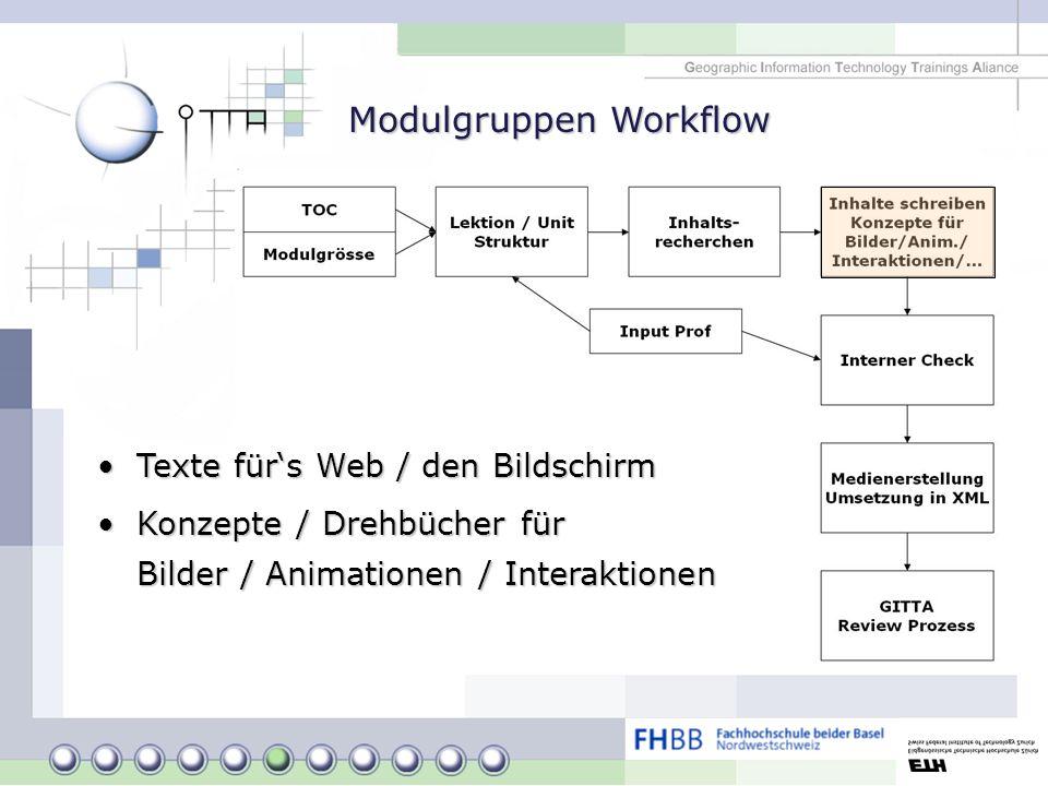 Modulgruppen Workflow Texte fürs Web / den BildschirmTexte fürs Web / den Bildschirm Konzepte / Drehbücher für Bilder / Animationen / InteraktionenKon