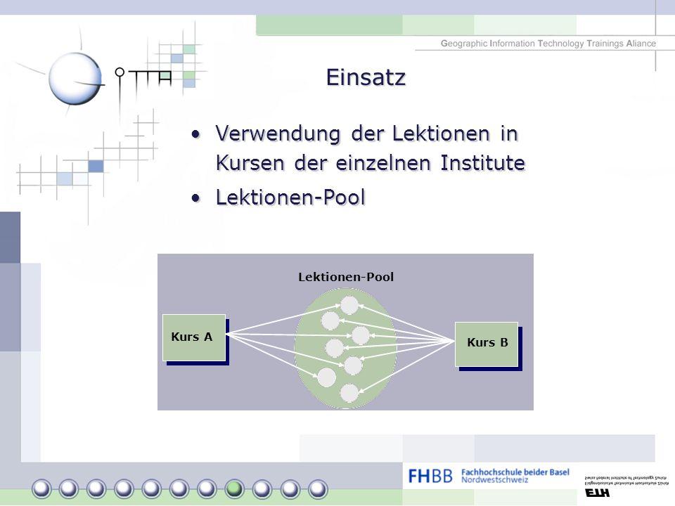 Einsatz Verwendung der Lektionen in Kursen der einzelnen InstituteVerwendung der Lektionen in Kursen der einzelnen Institute Lektionen-PoolLektionen-P