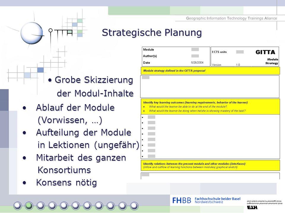 Grobe SkizzierungGrobe Skizzierung der Modul-Inhalte der Modul-Inhalte Strategische Planung Ablauf der Module Ablauf der Module (Vorwissen, …) (Vorwis