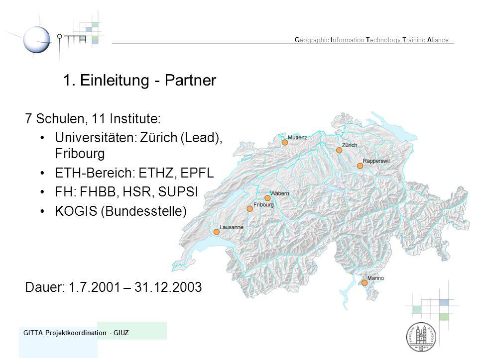 Geographic Information Technology Training Aliance GITTA Projektkoordination - GIUZ 7 Schulen, 11 Institute: Universitäten: Zürich (Lead), Fribourg ET