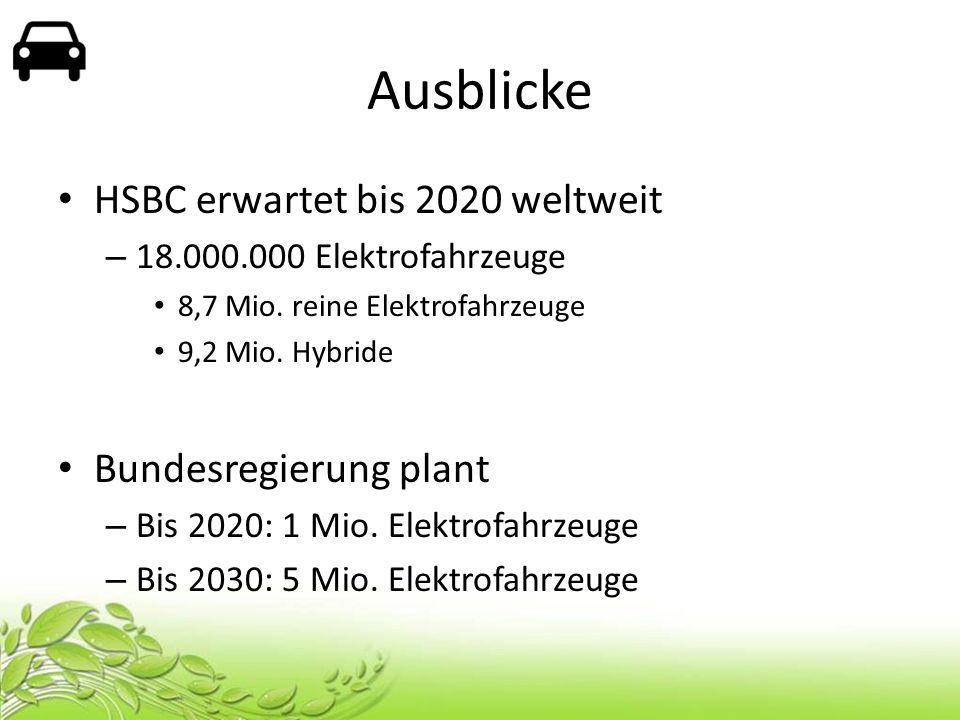Ausblicke HSBC erwartet bis 2020 weltweit – 18.000.000 Elektrofahrzeuge 8,7 Mio. reine Elektrofahrzeuge 9,2 Mio. Hybride Bundesregierung plant – Bis 2