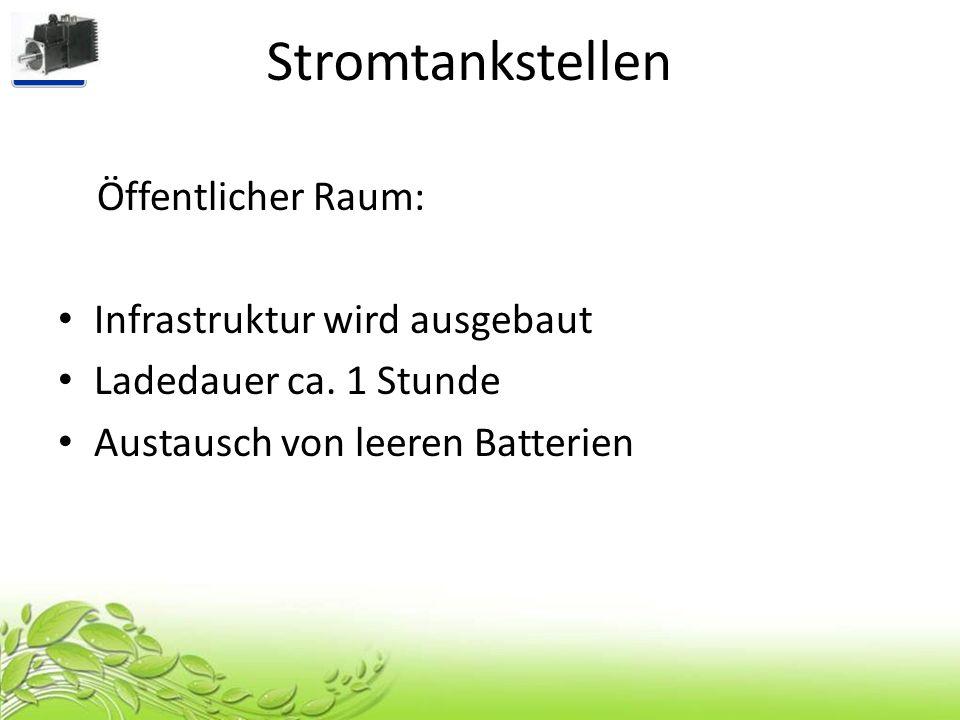 Stromtankstellen Öffentlicher Raum: Infrastruktur wird ausgebaut Ladedauer ca. 1 Stunde Austausch von leeren Batterien