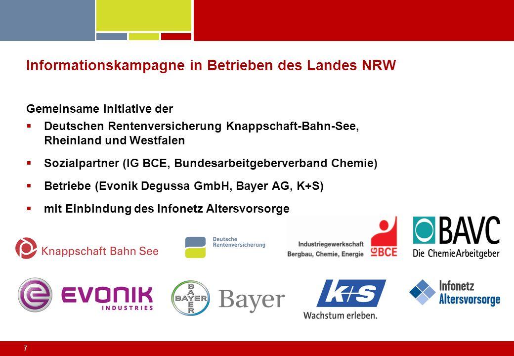 7 Informationskampagne in Betrieben des Landes NRW Gemeinsame Initiative der Deutschen Rentenversicherung Knappschaft-Bahn-See, Rheinland und Westfale