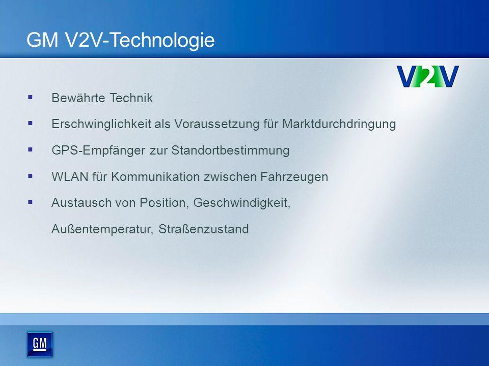 GM V2V-Technologie Bewährte Technik Erschwinglichkeit als Voraussetzung für Marktdurchdringung GPS-Empfänger zur Standortbestimmung WLAN für Kommunikation zwischen Fahrzeugen Austausch von Position, Geschwindigkeit, Außentemperatur, Straßenzustand
