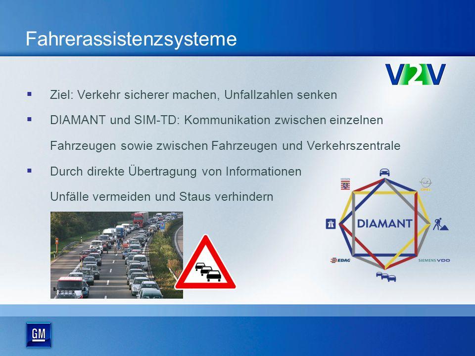 Fahrerassistenzsysteme Ziel: Verkehr sicherer machen, Unfallzahlen senken DIAMANT und SIM-TD: Kommunikation zwischen einzelnen Fahrzeugen sowie zwischen Fahrzeugen und Verkehrszentrale Durch direkte Übertragung von Informationen Unfälle vermeiden und Staus verhindern