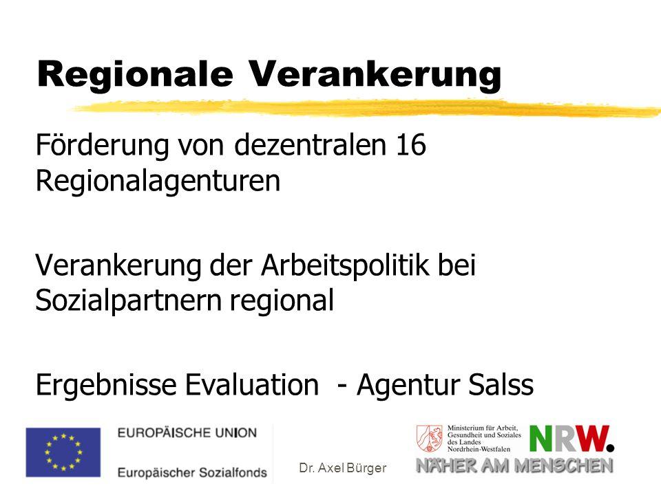 Dr. Axel Bürger Regionale Verankerung Förderung von dezentralen 16 Regionalagenturen Verankerung der Arbeitspolitik bei Sozialpartnern regional Ergebn