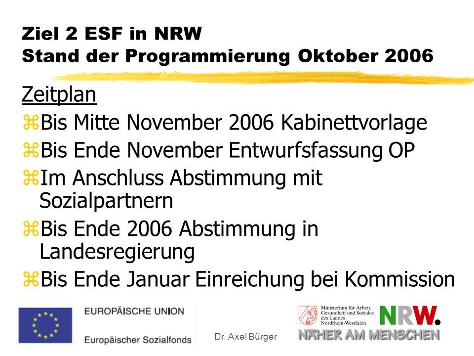 Dr. Axel Bürger Ziel 2 ESF in NRW Stand der Programmierung Oktober 2006 Zeitplan zBis Mitte November 2006 Kabinettvorlage zBis Ende November Entwurfsf