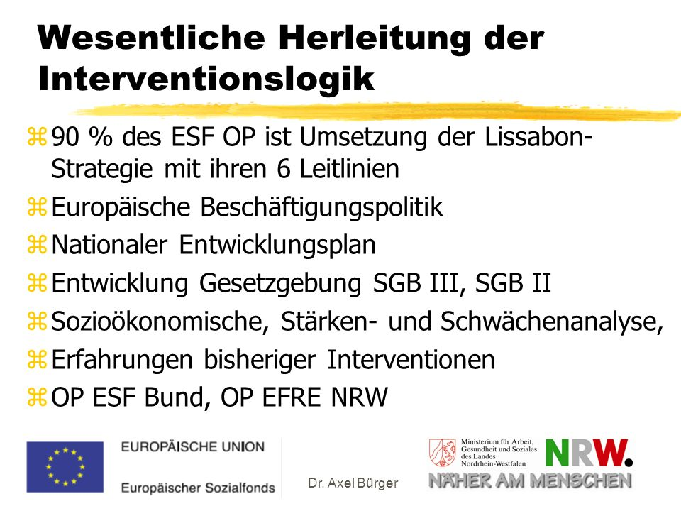 Dr. Axel Bürger Wesentliche Herleitung der Interventionslogik z90 % des ESF OP ist Umsetzung der Lissabon- Strategie mit ihren 6 Leitlinien zEuropäisc