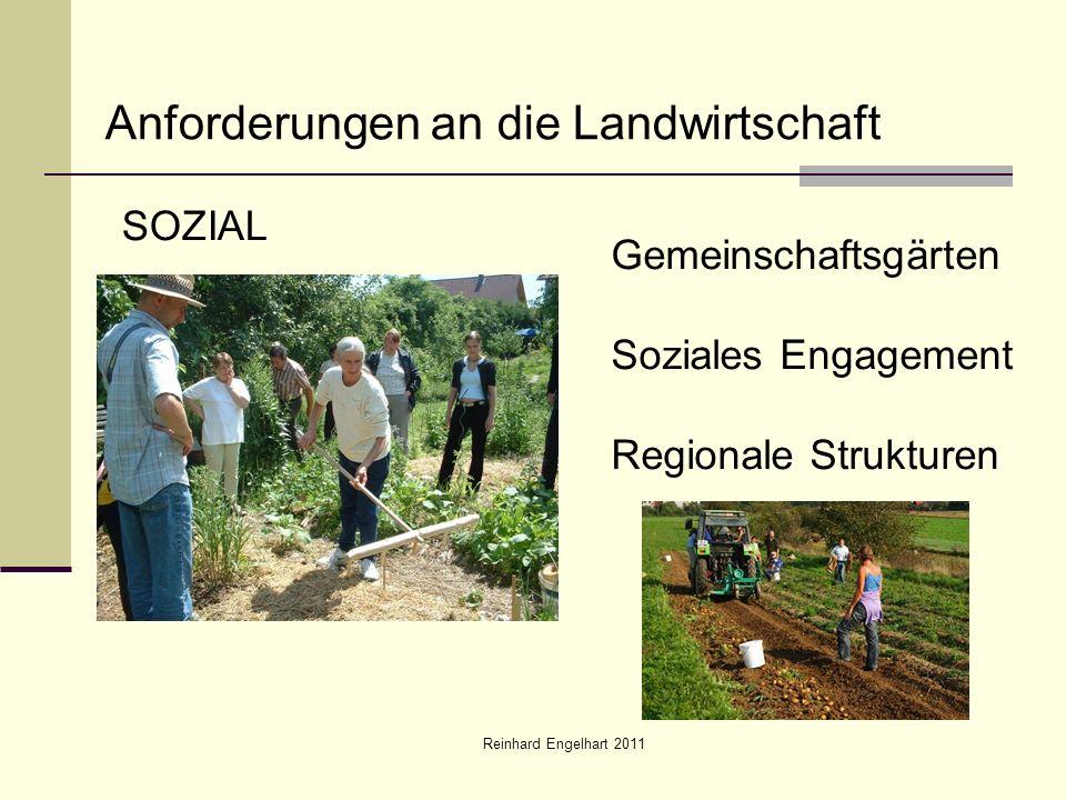 Reinhard Engelhart 2011 Anforderungen an die Landwirtschaft SOZIAL Gemeinschaftsgärten Soziales Engagement Regionale Strukturen