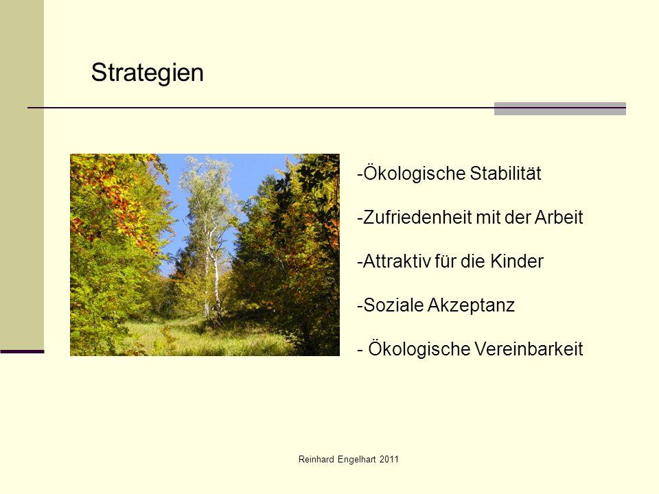 Reinhard Engelhart 2011 Strategien -Ökologische Stabilität -Zufriedenheit mit der Arbeit -Attraktiv für die Kinder -Soziale Akzeptanz - Ökologische Ve
