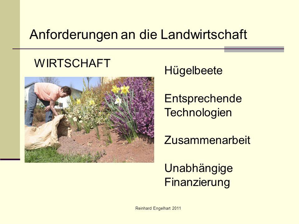 Reinhard Engelhart 2011 Anforderungen an die Landwirtschaft WIRTSCHAFT Hügelbeete Entsprechende Technologien Zusammenarbeit Unabhängige Finanzierung