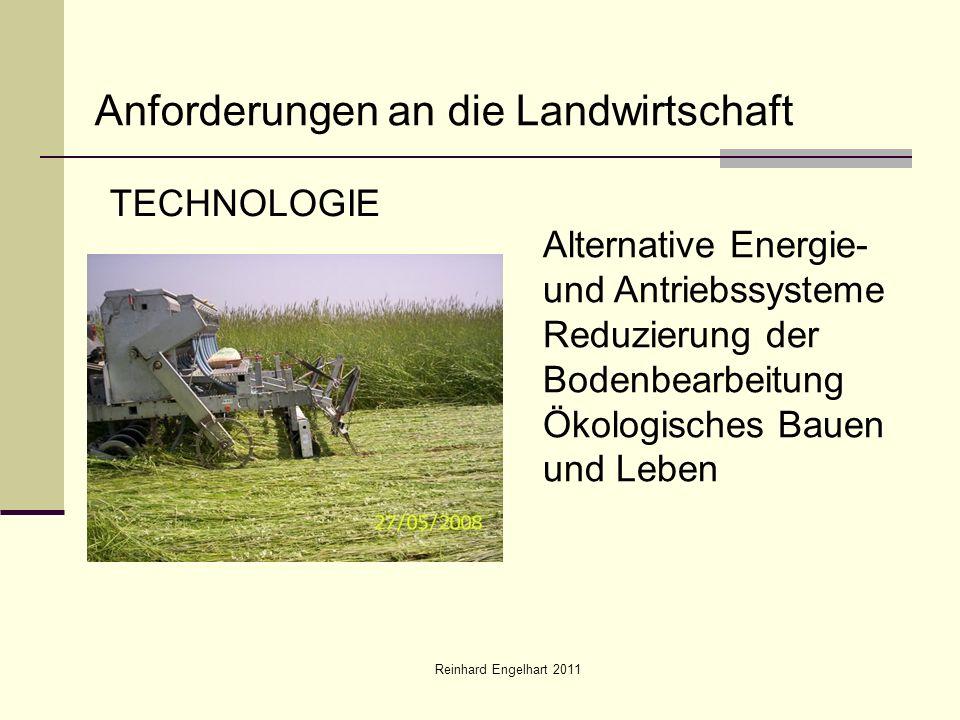 Reinhard Engelhart 2011 Anforderungen an die Landwirtschaft TECHNOLOGIE Alternative Energie- und Antriebssysteme Reduzierung der Bodenbearbeitung Ökologisches Bauen und Leben