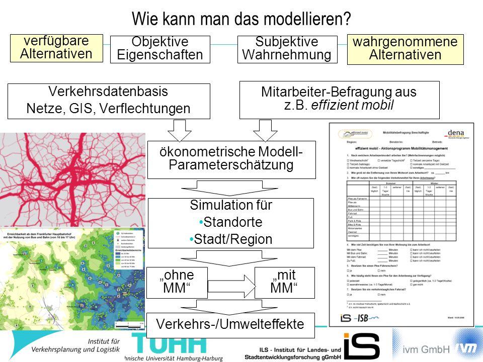 Wie kann man das modellieren? Objektive Eigenschaften verfügbare Alternativen Subjektive Wahrnehmung wahrgenommene Alternativen Verkehrsdatenbasis Net