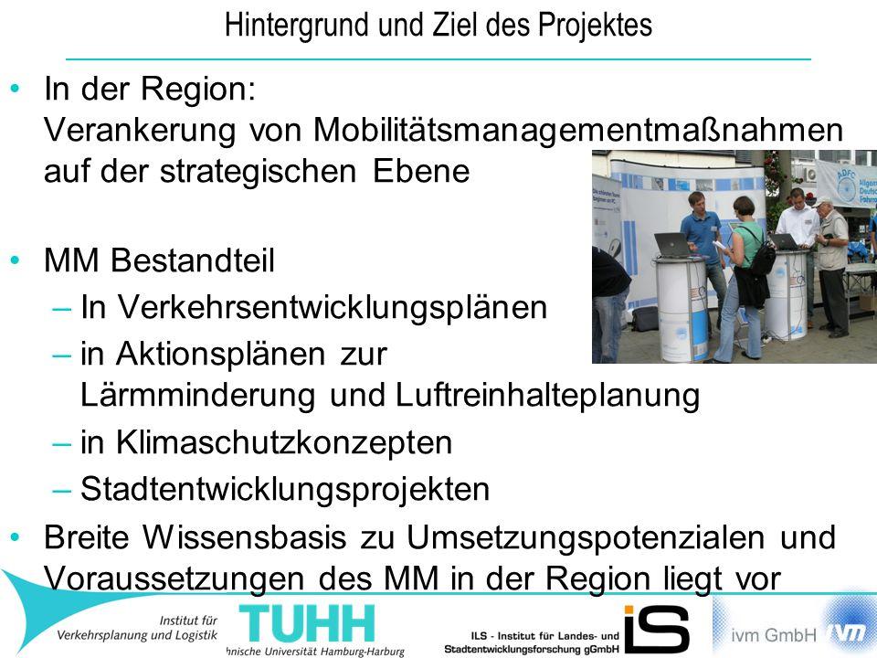 Hintergrund und Ziel des Projektes In der Region: Verankerung von Mobilitätsmanagementmaßnahmen auf der strategischen Ebene MM Bestandteil –In Verkehr