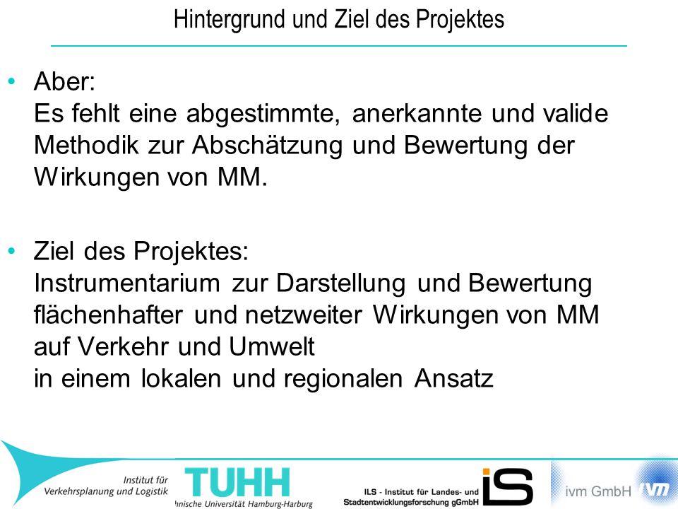 Hintergrund und Ziel des Projektes Aber: Es fehlt eine abgestimmte, anerkannte und valide Methodik zur Abschätzung und Bewertung der Wirkungen von MM.