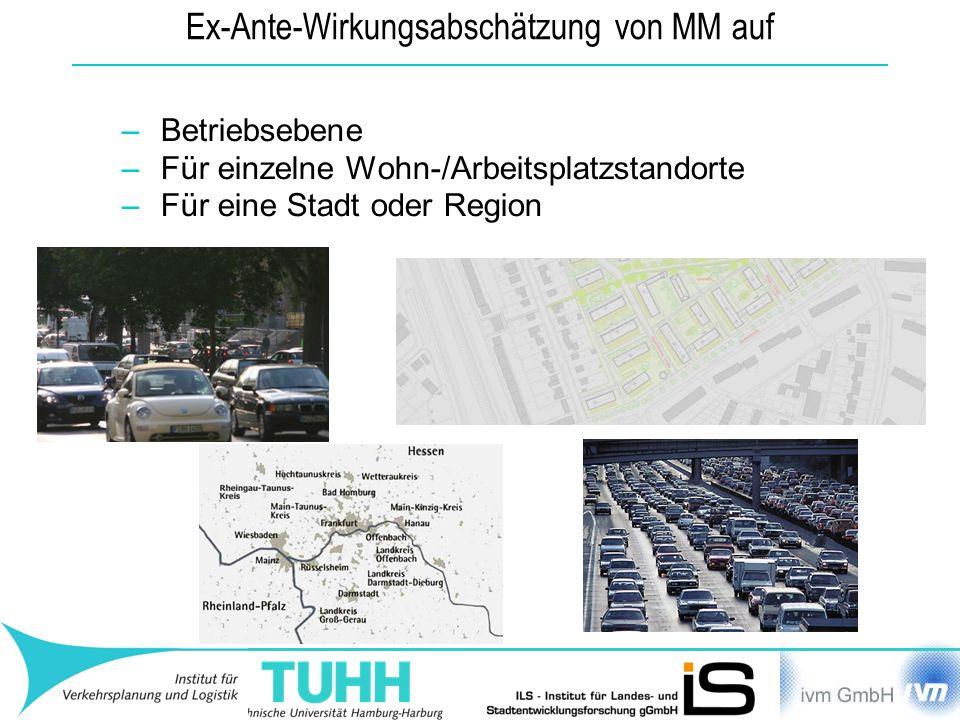 Ex-Ante-Wirkungsabschätzung von MM auf –Betriebsebene –Für einzelne Wohn-/Arbeitsplatzstandorte –Für eine Stadt oder Region