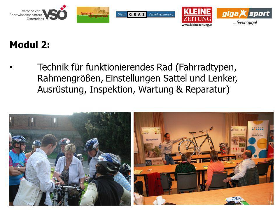 Modul 2: Technik für funktionierendes Rad (Fahrradtypen, Rahmengrößen, Einstellungen Sattel und Lenker, Ausrüstung, Inspektion, Wartung & Reparatur)