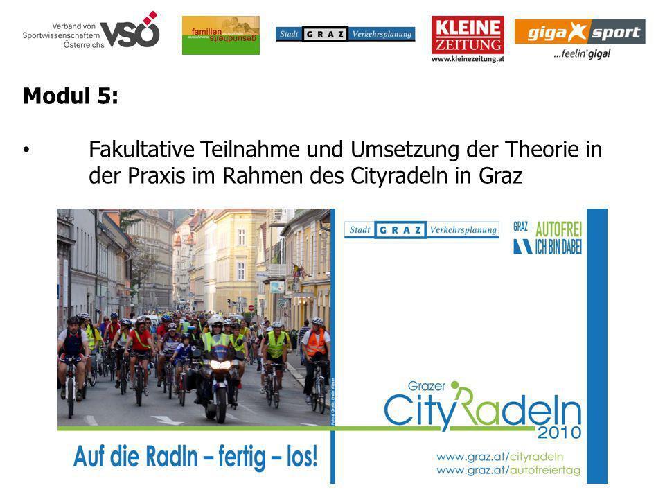 Modul 5: Fakultative Teilnahme und Umsetzung der Theorie in der Praxis im Rahmen des Cityradeln in Graz