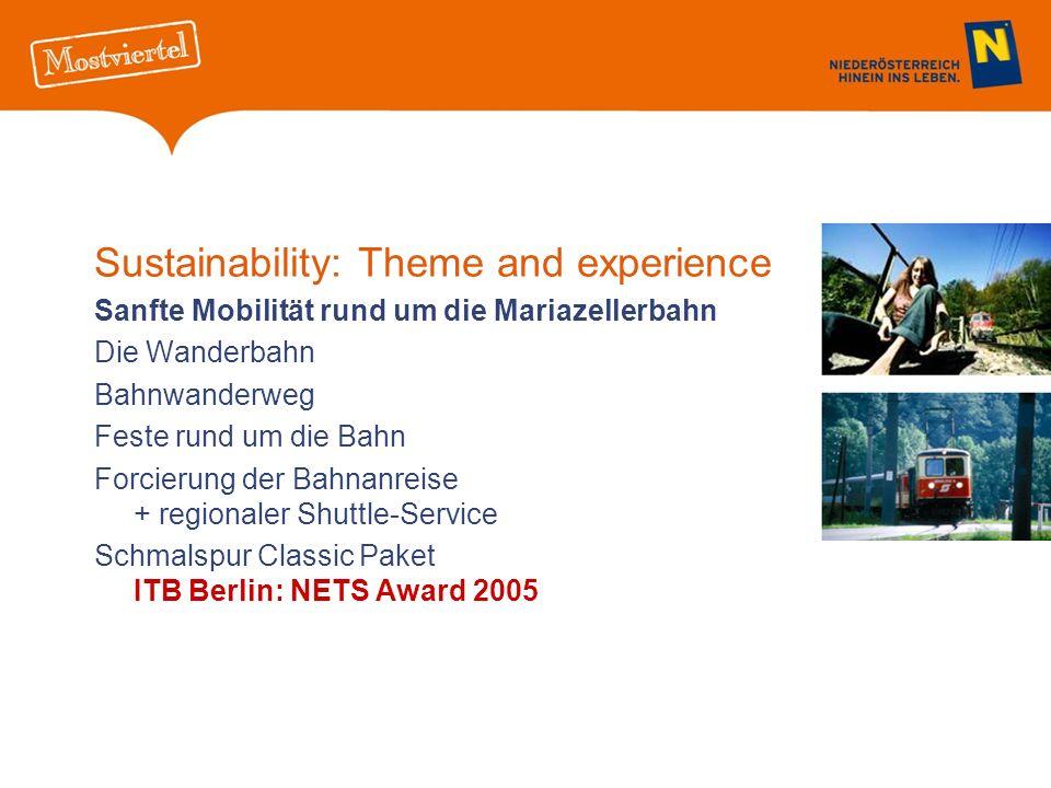 Sustainability: Theme and experience Sanfte Mobilität rund um die Mariazellerbahn Die Wanderbahn Bahnwanderweg Feste rund um die Bahn Forcierung der Bahnanreise + regionaler Shuttle-Service Schmalspur Classic Paket ITB Berlin: NETS Award 2005