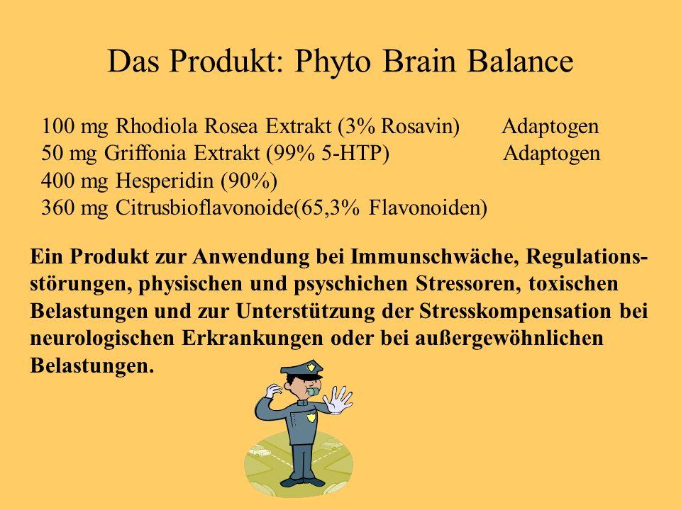 Das Produkt: Phyto Brain Balance 100 mg Rhodiola Rosea Extrakt (3% Rosavin) Adaptogen 50 mg Griffonia Extrakt (99% 5-HTP) Adaptogen 400 mg Hesperidin