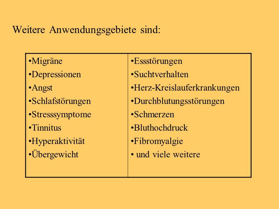 Weitere Anwendungsgebiete sind: Migräne Depressionen Angst Schlafstörungen Stresssymptome Tinnitus Hyperaktivität Übergewicht Essstörungen Suchtverhal