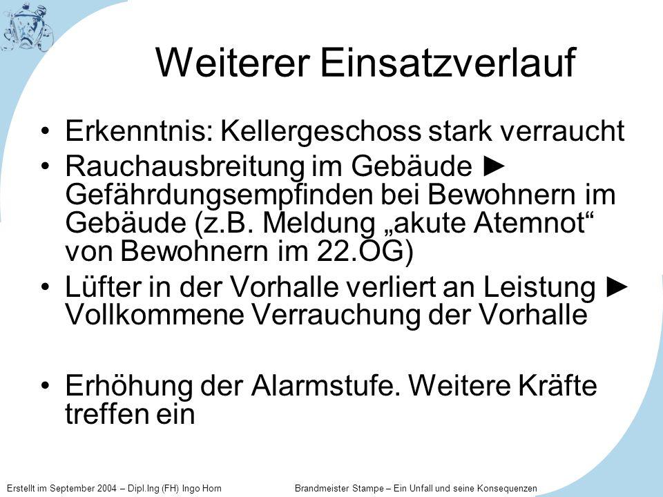 Erstellt im September 2004 – Dipl.Ing (FH) Ingo Horn Brandmeister Stampe – Ein Unfall und seine Konsequenzen Weiterer Einsatzverlauf Erkenntnis: Kelle