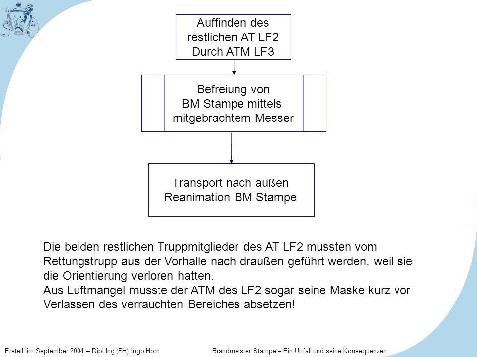 Erstellt im September 2004 – Dipl.Ing (FH) Ingo Horn Brandmeister Stampe – Ein Unfall und seine Konsequenzen Befreiung von BM Stampe mittels mitgebrac