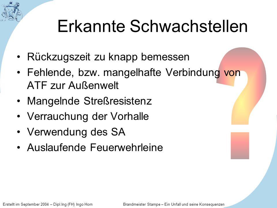 Erstellt im September 2004 – Dipl.Ing (FH) Ingo Horn Brandmeister Stampe – Ein Unfall und seine Konsequenzen Erkannte Schwachstellen Rückzugszeit zu k