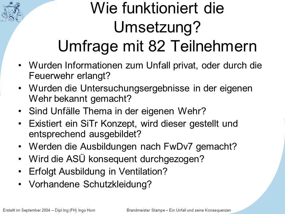 Erstellt im September 2004 – Dipl.Ing (FH) Ingo Horn Brandmeister Stampe – Ein Unfall und seine Konsequenzen Wie funktioniert die Umsetzung? Umfrage m