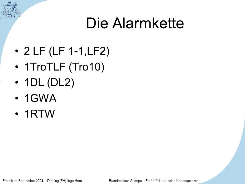 Erstellt im September 2004 – Dipl.Ing (FH) Ingo Horn Brandmeister Stampe – Ein Unfall und seine Konsequenzen Die Alarmkette 2 LF (LF 1-1,LF2) 1TroTLF