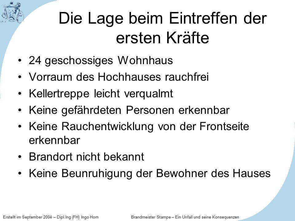 Erstellt im September 2004 – Dipl.Ing (FH) Ingo Horn Brandmeister Stampe – Ein Unfall und seine Konsequenzen Die Zeit nach dem Unfall