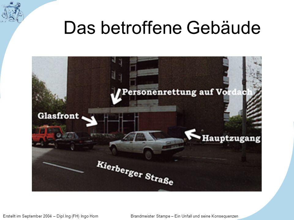 Erstellt im September 2004 – Dipl.Ing (FH) Ingo Horn Brandmeister Stampe – Ein Unfall und seine Konsequenzen Die direkten Folgen Neben den staatsanwaltlichen Ermittlungen wird eine unabhängige Unfallkomission gegründet, die den Unfall lückenlos aufarbeiten soll.